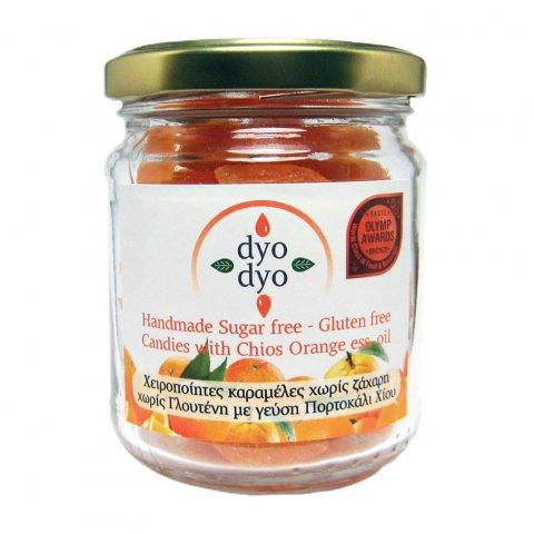 orange, dyo dyo, δυο δυο πορτοκάλι, καραμέλες με γεύση πορτοκάλι, orange flavour candies, καραμέλες χωρίς ζάχαρη